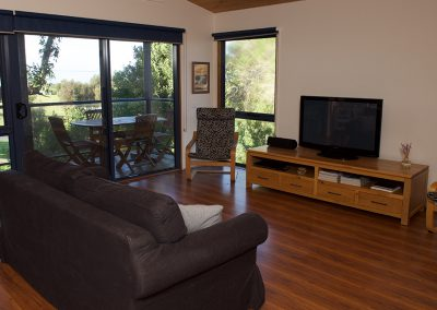 Fisheye9 - Great Ocean Road accommodation. Cosy living area with bush and ocean views and all the mod cons.