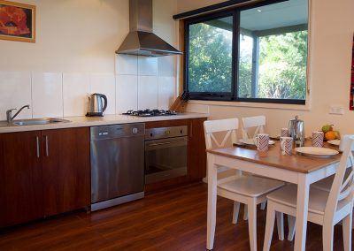 Fisheye9 - Great Ocean Road accommodation. Kitchen and dining area.